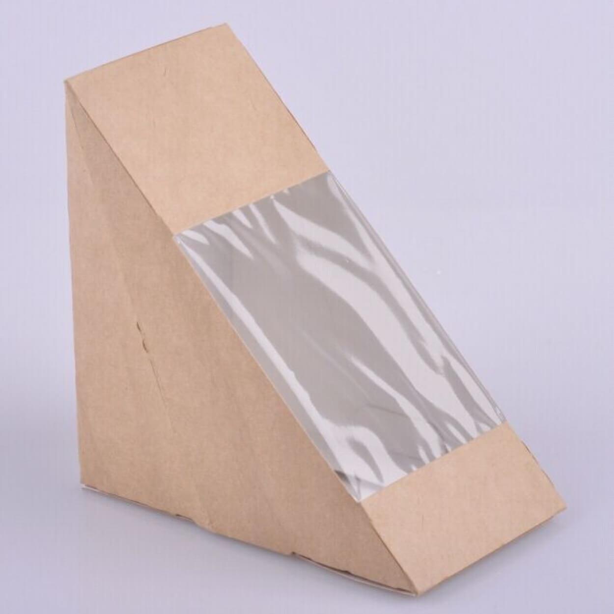 SANDWICH PAPER BOX KRAFT 123×72/window 75mm (50τ)